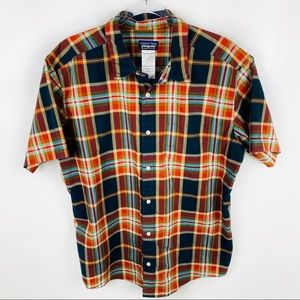 Patagonia Mens Large Short Sleeve Plaid Button Top